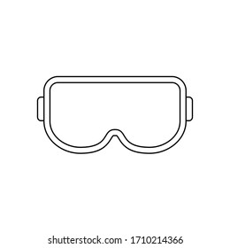 Protective glasses thin line icon. Safety goggles sign or symbol. Surgical or lab glasses outline. Protective workwear for eyes. Fight Corona virus equipment. Vector illustration, flat style, clip art