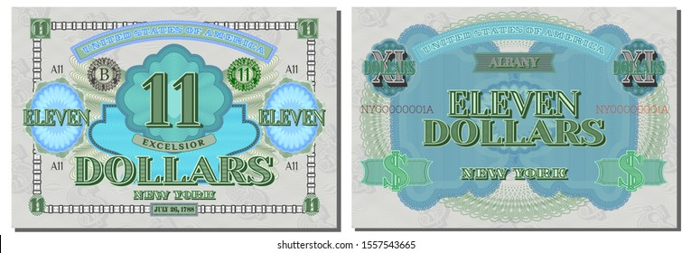 Protective guilloche mesh. A fictional US 11 dollars dedicated to the state of New York. Latin motto Higher