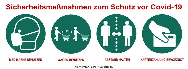 Protective measures against Covid-19 when shopping. Text in German: Safety measures to protect against Covid-19. Use medical mask, use cart, keep your distance, card payment preferred. vector file