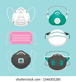 Protective medical masks flat vector illustrations set. Various respirators for health care isolated on blue background. Air pollution, environment contamination, disease prevention symbols pack