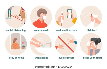 Protective prevention measures against coronavirus Covid-19 - wash hands, stay at home, disinfect, social distancing, wear a mask, use cough tissues, avoid contact, seek medical care.New normal