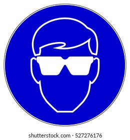 Protective safety eye protection must be worn, mandatory sign, vector illustration.
