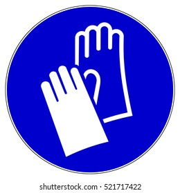 Protective safety gloves must be worn, mandatory sign, vector illustration.