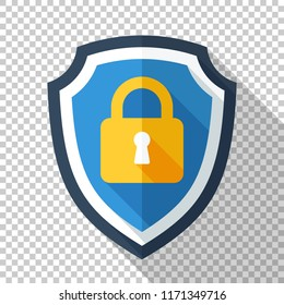 Protective shield icon with locked padlock in flat style with long shadow on transparent background