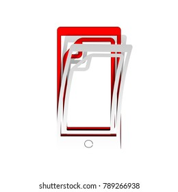 Protective sticker on the screen. Vector. Detachable paper icon with red body stock. Isolated.