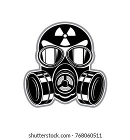 protective suit, gas mask with lenses and sign of radiation danger