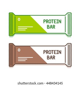 Protein bar in green and brown pack. Organic sweets. Sports nutrition icons. Vector illustration isolated on white background