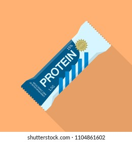 Protein bar icon. Flat illustration of protein bar vector icon for web design