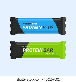 Protein bar vector set isolated from the background. Energy or nutritional bar wrapped in a flat style. Sport and fitness supplements.