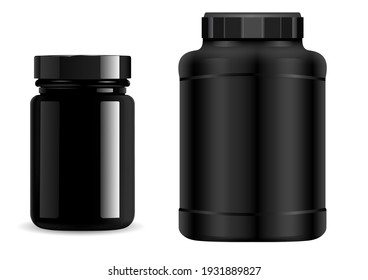 Protein jar. Black plastic bottle. Supplement package, sport container, 3d vector. Whey protein powder packaging. Vitamin pill can, realistic round cylinder bottle set. Geiner pack blank isolated