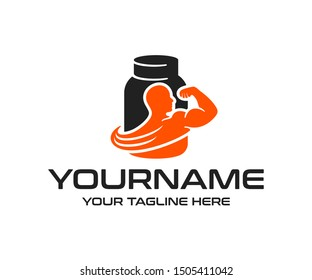 Protein powder or nutrition for bodybuilding and fitness, logo design. Sport food or eating, whey protein powder, vector design and illustration