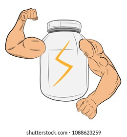 protein power energy jar with muscle hands vector drawing illustration