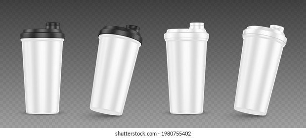 Protein shaker, cup for sports nutrition, gainer or whey shake drink front view. Plastic white bottle, mixer for gym fitness, bodybuilding isolated on transparent background Realistic 3d vector mockup
