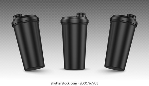 Protein shaker, cup for sports nutrition, gainer or whey shake drink front view. Plastic black bottle, mixer for gym fitness, bodybuilding isolated on transparent background Realistic 3d vector mockup