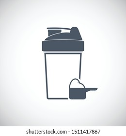 Protein shaker. Sport shaker bottle icon, vector stock illustration