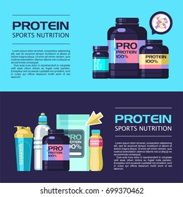 Protein. Sports nutrition. Vector illustration with place for text, banner. Set of design elements.