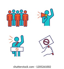 Protest action color icons set. Meeting, protester, protest banner, speech. Isolated vector illustrations