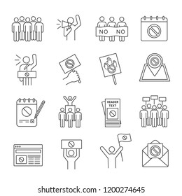 Protest action linear icons set. Political behaviour. Social and political movements. Democracy, rights protection. Thin line contour symbols. Isolated vector outline illustrations. Editable stroke