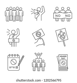 Protest action linear icons set. Meeting, protester, picket, speech, banner, protest placard, petition, leader, leaflet. Thin line symbols. Isolated vector outline illustrations. Editable stroke
