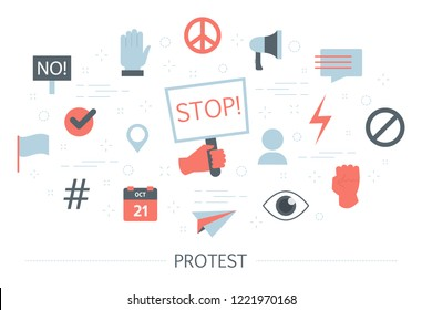 Protest concept. Idea of crowd of activist on demonstration. Group of people on political event making revolution metaphor. Set of colorful icons. Isolated flat vector illustration