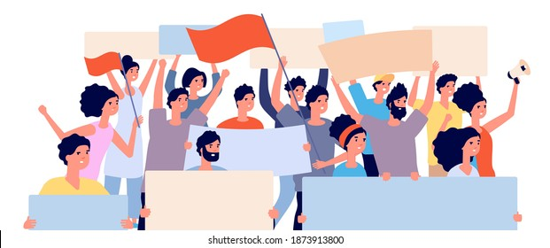 Protest demonstration. Politic revolution, angry people crowd with flags and placards. Human cheers, public patriot meeting utter vector concept