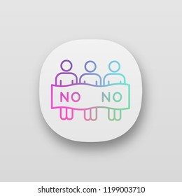 Protest event app icon. Political protest. Activists. Social movement. Public opinion. Demonstration, meeting. Collective action. UI/UX interface. Web, mobile application. Vector isolated illustration