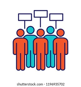 Protest event color icon. Political protest. Social movement. Public opinion. Protesters with banners. Demonstration, meeting. Collective action. Isolated vector illustration