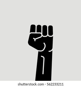 Protest Hand Up Filled Fist Vector Icon