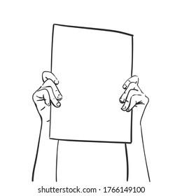 Protest, Hands holding blank banner. Vector sketch, Hand drawn illustration