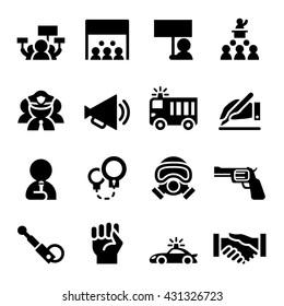 Protest icon set