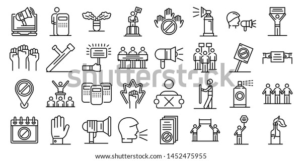 Protest icons set. Outline set of protest vector icons for web design isolated on white background