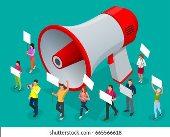 Protest Isometric People with placard and megaphones on demonstration. Demonstration, protest, strike concept. Megaphone isometric
