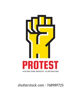 Protest - logo template vector illustration. Abstract human hand creative sign. Revolution concept symbol. Against line icon. Graphic design element.