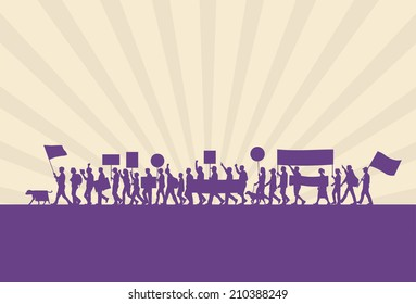 Protest marches silhouette