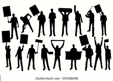 Protest men silhouette. Men holding banner. Angry protesters.