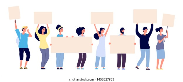 Protest. People crowd holding blank banners, manifesting activists demonstrating empty signs. Street demonstration vector concept. Illustration of placard protester, political revolution, demonstrate