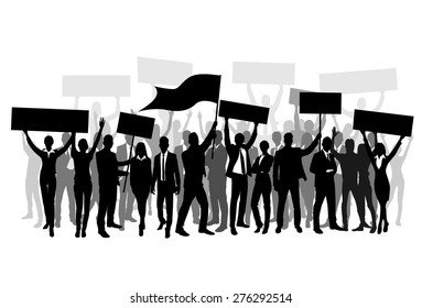 Protest People Crowd Silhouette, Man Holding Flag Banner Vector Illustration