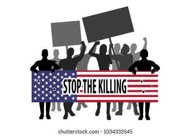 Protest people crowd. Stop the killing