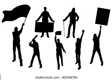 Protest people silhouette. Men holding flag, banner, cards.