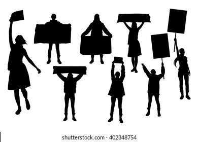 Protest people silhouette. Women holding leaflet, banner, cards.
