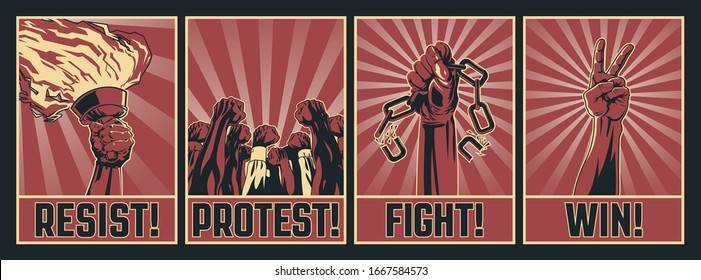 Protest Propaganda Poster Set, Retro Placards Style, Chains, Torch, Crowd, Victory Gesture