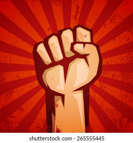 Protest red logo. Fist raised up.