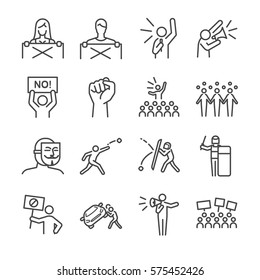 Protest and resist line icon set. Included the icons as mob, protest, riot, resist, people, police and more.