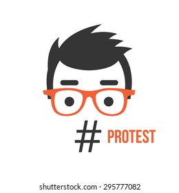 Protest, social network flashmob activity flat illustration concept. Creative concept for web banners, web sites, printed materials. Vector illustration