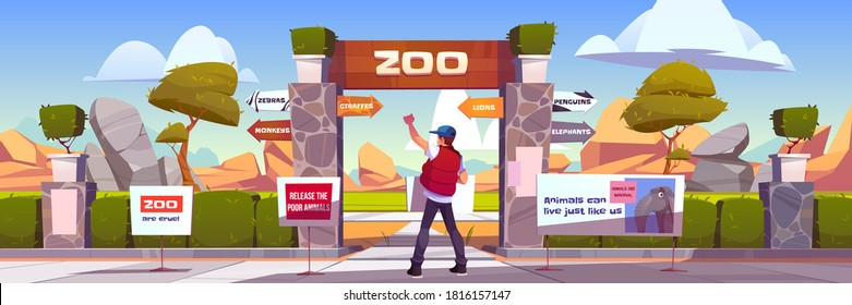 Protest to stop animal abuse, activist with banner strike against zoo and cruelty to pets. Man holding agitation poster at park entrance with pointer to cages, save nature cartoon vector illustration