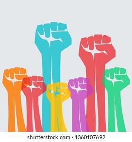 Protest , strength , freedom,  revolution,  rebel,  revolt concept design vector illustration