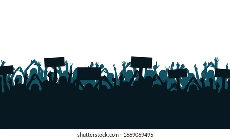 Protest and strike, demonstration and revolution concept. Silhouettes of crowd of people with raised up hands and flags. Political and human rights protest. Vector