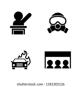 Protest Strike People. Simple Related Vector Icons Set for Video, Mobile Apps, Web Sites, Print Projects and Your Design. Protest Strike People icon Black Flat Illustration on White Background.