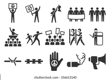 Protest vector illustration icon set. Included the icons as protester, strike, mob, riot, objection, chaos and more.
