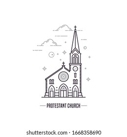 Protestant church icon. Simple line art style church building outline vector logo isolated on white background